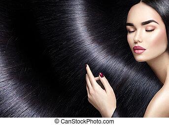 длинные волосы, background., красота, брюнетка, женщина, with, прямо, черный, волосы