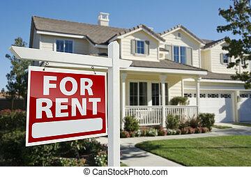 для, аренда, недвижимость, знак, перед, дом