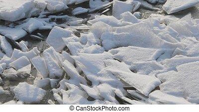 дно, весна, удаляет, снег, лед, вверх, рано, камера, fragments, moves