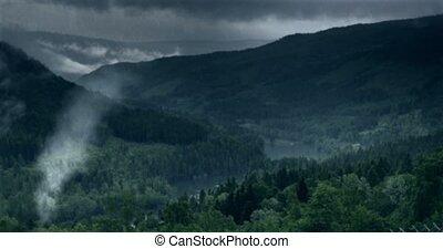 дождливый, древний, выстрел, смотреть, на, -, вниз, hutts, день, фьорд, vfx, норвегия
