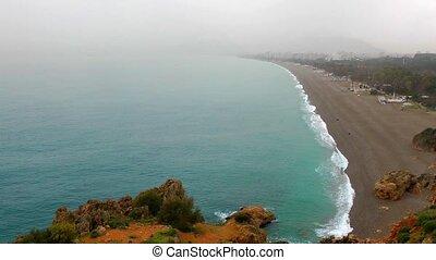 дождливый, пляж, день, длинный