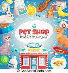 домашнее животное, магазин, рамка, задний план