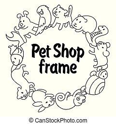 домашнее животное, types, рамка, магазин, pets