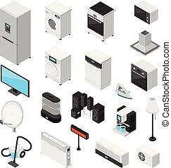 домашнее хозяйство, задавать, изометрический, appliances,...