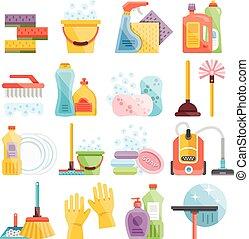 домашнее хозяйство, уборка, supplies, icons