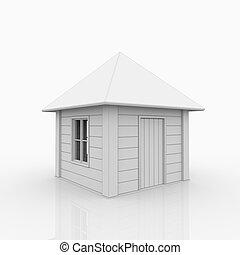 дом, белый, улица