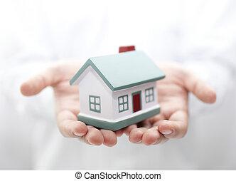 дом, в, hands., мелкий, dof