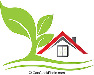 дом, дерево, реальный, логотип, имущество