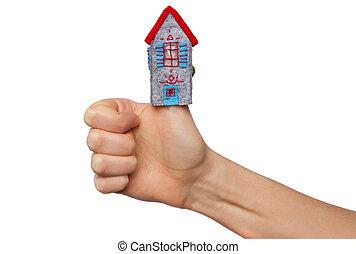 дом, держа, рука