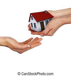 дом, держа, руки