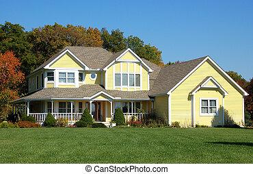 дом, желтый