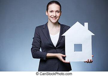 дом, женщина, бумага