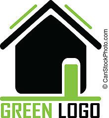 дом, зеленый, логотип