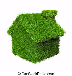 дом, зеленый