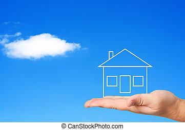 дом, на, пальма, концепция, housing.
