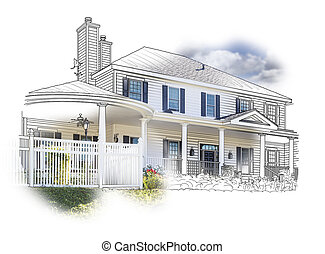 дом, рисование, and, фото, сочетание, на, белый
