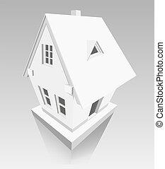 дом, сделал, of, бумага, на, серый, задний план