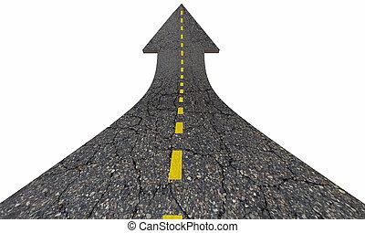 дорога, стрела, поднимающийся, вверх, увеличение, улучшать, 3d, иллюстрация