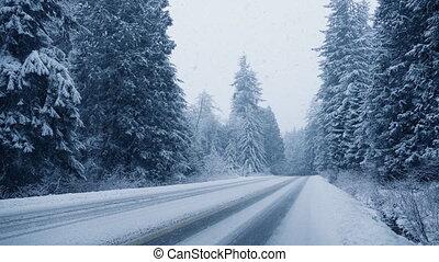 дорога, через, лес, снегопад