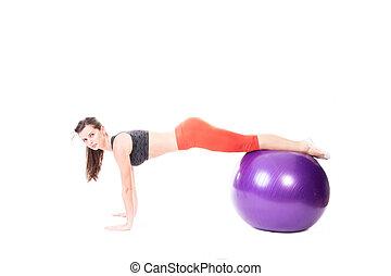 доска, на, упражнение, мяч