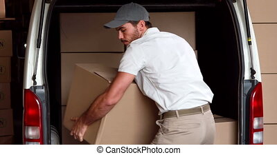 доставка, водитель, unloading, his, фургон