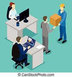 доставка, изометрический, состав, офис