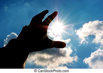 достичь, солнце, силуэт, человек, рука