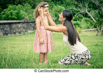 дочь, день, time., мама, трава, playing