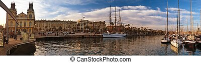 дощатый настил, яхта, порт, барселона, посмотреть