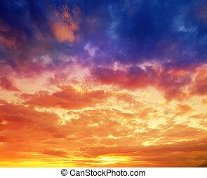 драматичный, вибрирующий, закат солнца, в, гавайи