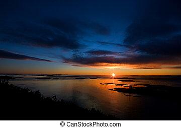 драматичный, закат солнца, на, океан