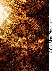 древний, майя, календарь, абстрактные, цвет, задний план, компьютер, collage.