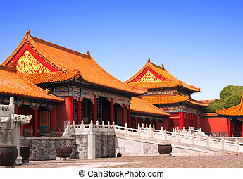 древний, pavilions, в, запрещено, город, пекин, китай