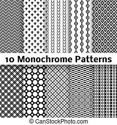 другой, бесшовный, (tiling), patterns, вектор, монохромный