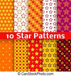 другой, звезда, бесшовный, patterns, вектор, (tiling).