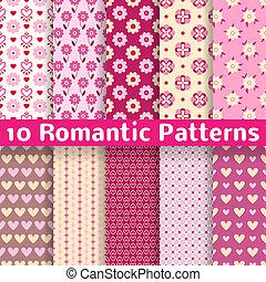 другой, романтический, бесшовный, patterns, вектор,...
