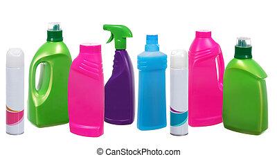 другой, bottles, многие, пластик, продукты, уборка, белый