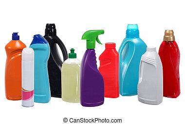 другой, bottles, многие, isolated, пластик, продукты, уборка, белый