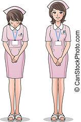 единообразный, милый, улыбается, розовый, медсестра
