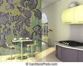 желтый, кухня