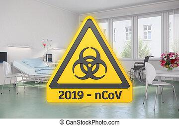 желтый, оказывать, предупреждение, 3d, 2019-ncov, знак, hazards, больница, биологическая, сообщение