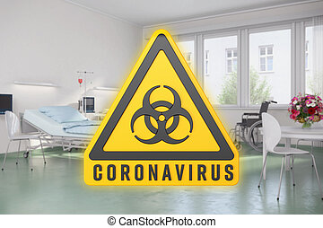 желтый, оказывать, предупреждение, 3d, coronavirus, знак, hazards, больница, биологическая, сообщение