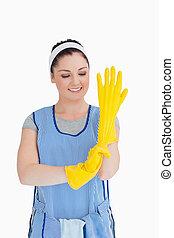 желтый, очиститель, сдачи, gloves, женщина