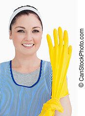 желтый, очиститель, gloves, носить, женщина