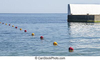 желтый, and, красный, buoys, на, , море, возле, , пирс