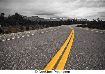 желтый, dividing, линия, of, шоссе