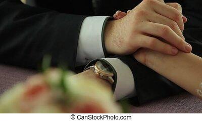 жених, руки, фокус, невеста, изменение, держа, цветы,...