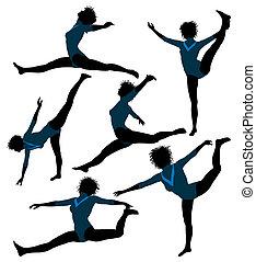 женский пол, африканец, американская, гимнаст, иллюстрация, силуэт
