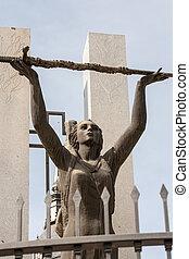 женский пол, статуя, держа, , меч