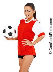 женский пол, футбольный, игрок, на, белый